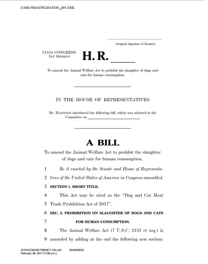 美国众议员Alcee. L Hastings提案 – 禁食猫狗肉