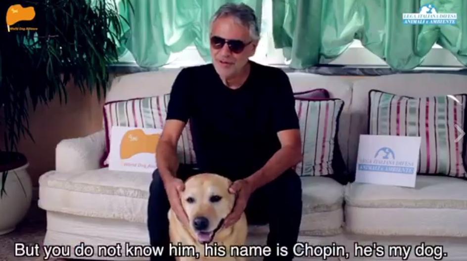 意大利著名盲人男高音Andrea Bocelli加入世界爱犬联盟团队