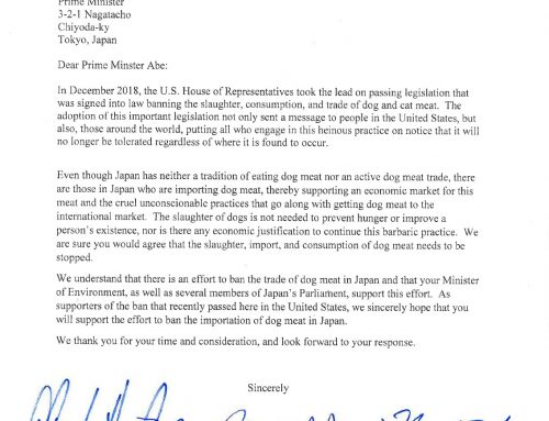 Letters from US Congressmen to call for a dog meat ban in Japan